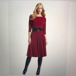 White House Black Market Maroon pleated dress